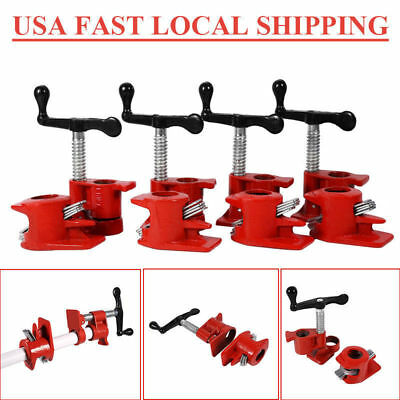 4PCS 3/4inch Wood Gluing Pipe Clamp Set Cast Iron Woodworking Carpenter Tool