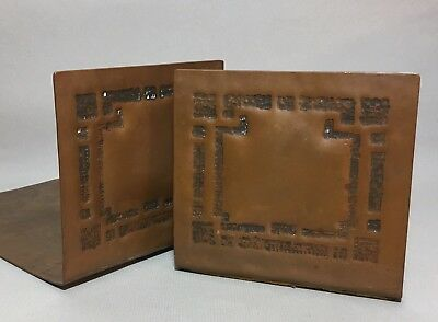 Antique Arts & Crafts Style Handmade Hammered Copper Bookends Craftsman