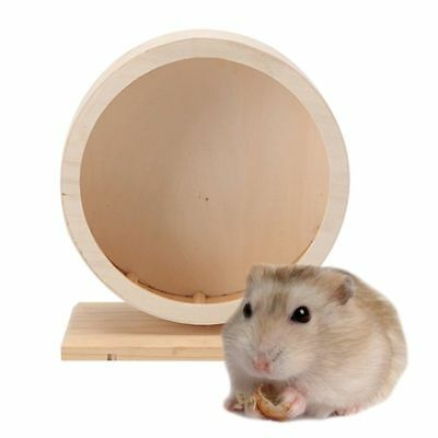 Pet Hamster Mouse Wooden Running Wheel Small Animal Mute Play Jogging Roller Toy