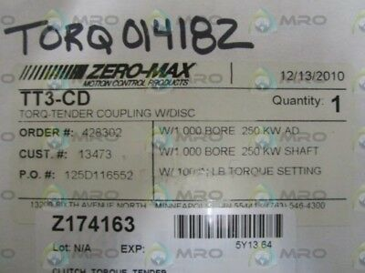 Zero-Max Torq-Tender Coupling W/ Disc Tt3-Cd *new In Box*