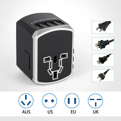 All-in-one Travel Adapter 4 USB Wall Charging Ports International Power Plugs