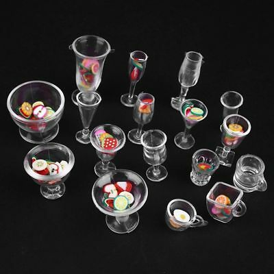 17pcs/Set Transparent Goblets Dollhouse Plate DIY Toy Decor Cups Mini Dish