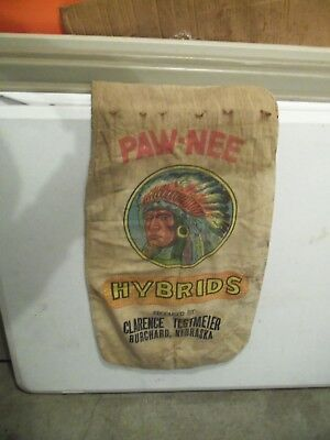 Rare Pawnee Hybrids Indian Chief Burchard Nebraska Seed Corn Cloth Bag Sack