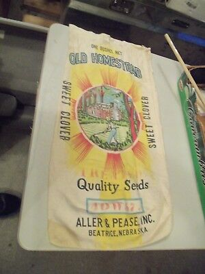 OLD HOMESTEAD SWEET CLOVER BEATRICE NEBRASKA SEED COMPANY CLOTH BAG SACK rare