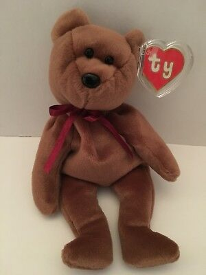 Ty Beanie Babies TEDDY BROWN  - NEW FACE - 2nd Gen Hang, 1st Gen Tush  RARE