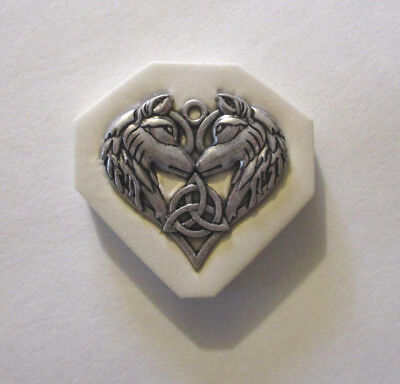 "Celtic wolfs Hard Polymer Clay Mold DIY Jewelry Pendant Size 1-1/4""x1-3/8"""