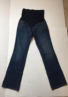 Liz Lange Maternity Boot Cut Jeans Size 8 Full Panel Dark Wash