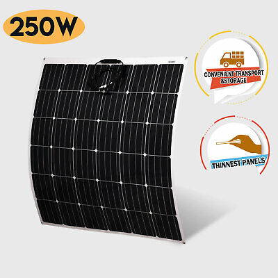 12V Flexible Solar Panel 250W Monocrystalline Caravan Camping Battery Charge