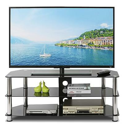 TV Stand Table for 32''-55'' TV Glass Black 100cm - TV Unit Living Coffee Table