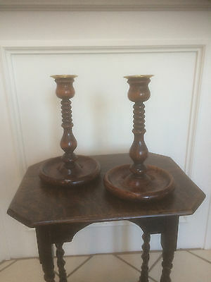Pair Antique Vintage Oak Wood Carved Candlesticks Brass Candle Holders 9""