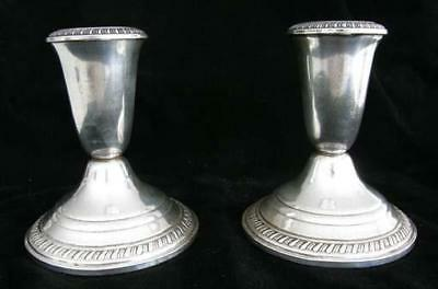 Pair of Crown Sterling Candle Holders
