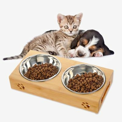 Pet Food Bowl Dog Dish Puppy Cat Water Feeder Tableware Bamboo Stand Dispenser