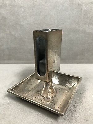 Antique c. 1900 Kerr Hammered Sterling Silver Ashtray Match Holder 93 Grams