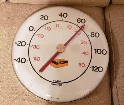 """Vtg Kodak Film USA Large 18"""" round Wall Thermometer Works Good Condition"""