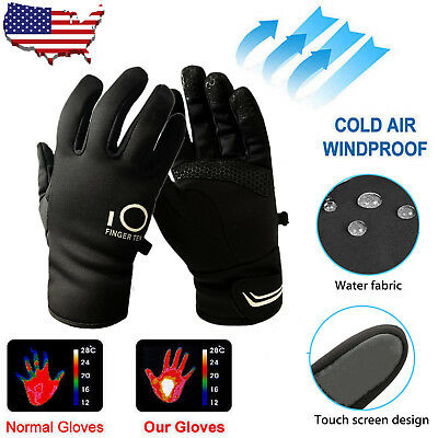 Mens Waterproof Winter Gloves Touch Screen Womens Thermal Fleece Lined Snowboard