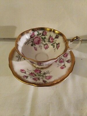 Queen Anne Fine Bone China Pink Floral Design with gold trim Tea Cup & Saucer