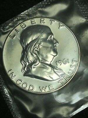 1961- P 90% Silver Franklin Half Dollar Sealed  Mint Cello FBL PROOF -Free S/H