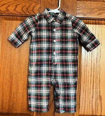 BABY GAP Boys Red Green Plaid Romper Jumpsuit Coverall 3-6 Mo Christmas VGUC