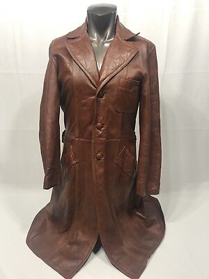 Vtg Brown Leather Duster Biker Goth Cowboy Long Trench Coat 70s 80s Well Made