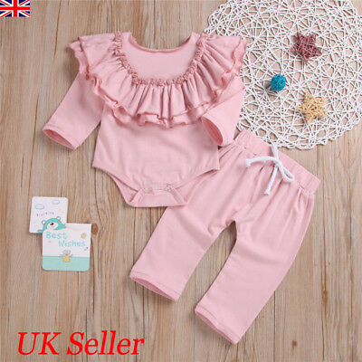 Newborn Baby Girls Clothes Ruffle Tops Romper Pants Infant Outfits Set Tracksuit