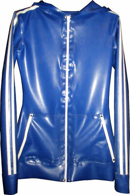 Latex Coat Rubber Gummi Sportswear Cool Navy Blue and White Hoodie Size S-XXL
