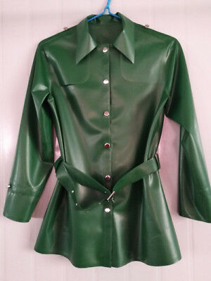100% Latex Coat Rubber Gummi Metal Green Long Sleeve Shirt With Belt Size S-XXL