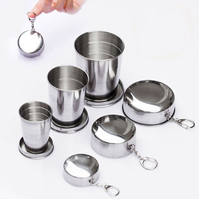 Stainless Steel Retractable Foldable Cup Telescopic Collapsible For Traveling