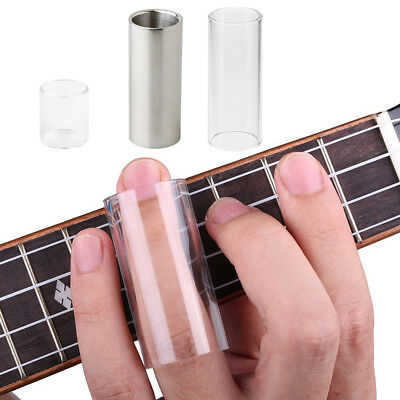 2 Pcs Glass Guitar Bass String Slide with Stainless Steel Guitar Slide Bar
