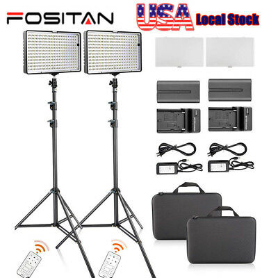 FOSITAN Bi-Color TL-336 LED Video Lights Studio Photography Lighting + Stand Kit