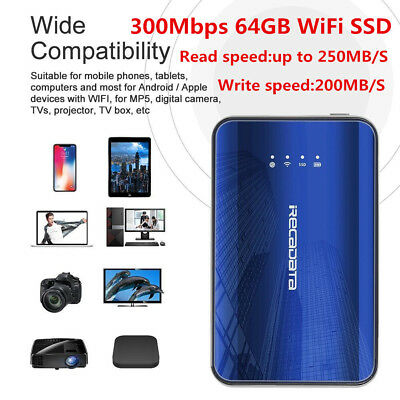 iRecadata i8 64GB 2.4Ghz WiFi Type C SSD Solid State Drive 300Mbps For Laptop PC