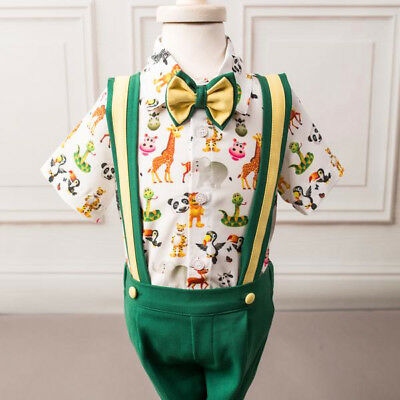 Christmas Toddler Baby Boy Formal T-shirt Top Overalls Pants Outfits Clothes AU