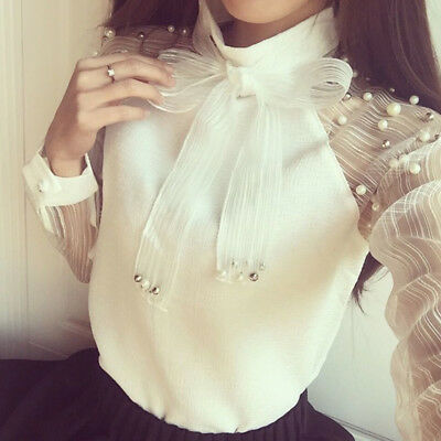 Women Chiffon Top Long Sleeve Perspective Shirt  White Bow Collar Pearl Blouse