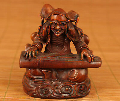 Rare Feng shui Old Boxwood Hand Carved Buddha Play the zither Statue Home deco