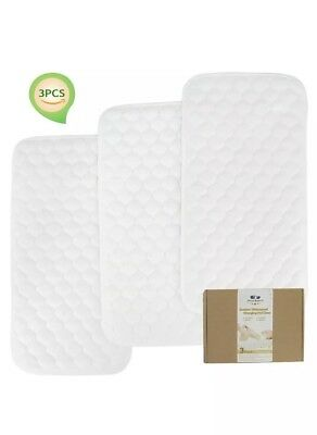 BlueSnail Bamboo Quilted Thicker Waterproof Changing Pad Liners, 3 Count White