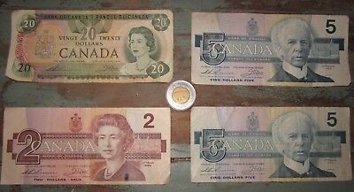 Canadian ~1979 $20 ~ (2) 1986 $5 ~ 1986 $2 dollars & 1996 $2 coin ~ Circulated $