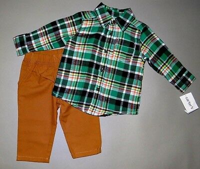 Baby boy clothes, 3 months, Carter's plaid flannel shirt/matching pants