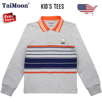 4-13T Polo Stripe Printed Kids Boys Children Long Sleeve T-shirt Tee Top Clothes