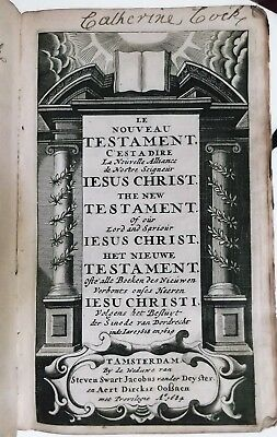 1684 ANTIQUE 1ST-ED POLYGLOT ENGLISH+FRENCH+DUTCH HOLY BIBLE 1611 King James god