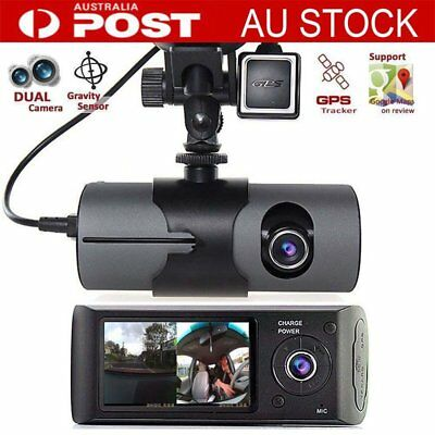 "Dash Cam Dual lens Camera Reversing Recorder Car DVR Video FHD GPS 2.7"" LCD IN"