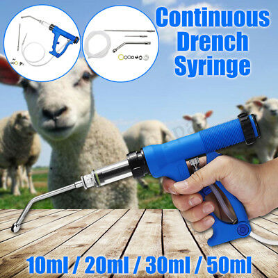 Continuous Needle Vaccinator Injection Syringe Drench Gun For Cattle Sheep Goat