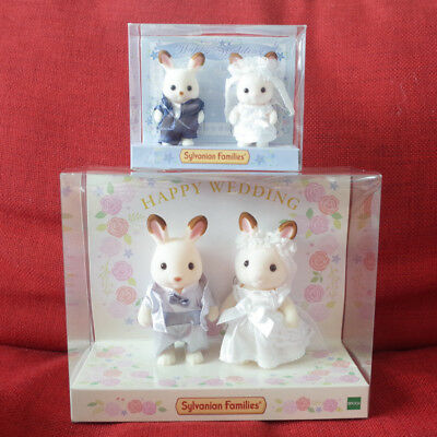 Sylvanian Families CHOCOLATE RABBIT WEDDING 2 PAIRS Epoch Japan Calico Critters