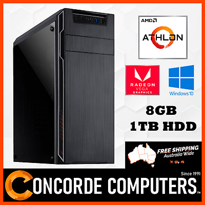 AMD 200GE | 8GB DDR4 | 1TB | Windows 10 Gaming Computer System Office Desktop PC
