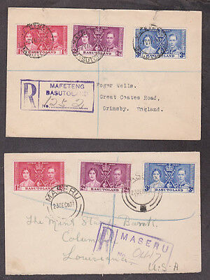 Basutoland - 1937 Two Coronation covers mailed at different towns