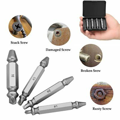 4Pcs Screw Extractor Kit Guide Broken Damaged Bolt Remover Drill Bits hot