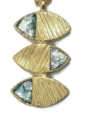 Roman Glass 18k Gold Plated Pendent Ancient Fragments 200 B.C Isr .