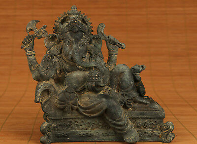 Big Tibet old Bronze Hand Casting Elephant Buddha God Statue Figure