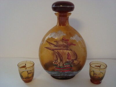 VINTAGE Amber Hand-Blown and Painted Crackle Glass Decanter w/ 2 shot glasses
