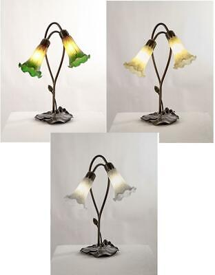 Lily Tiffany Style Table Lamp Glass Shades Art Nouveau Antique Brass Light