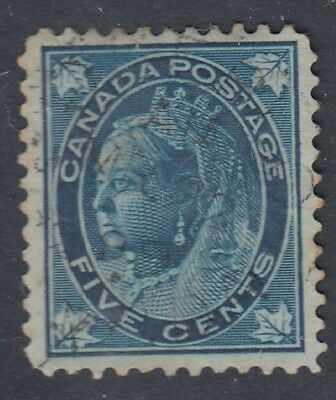 "Canada CDS Cancel Scott #70  5 cent dark blue  ""QV Maple Leaf""   F"