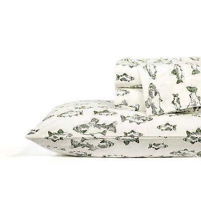 Eddie Bauer School Of Fish King Or Queen Size Flannel Sheet Set In Green Ivory Home Garden Sheets Pillowcases